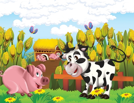 cartoon scene with life on the farm with cow and pig near the barn - illustration for the children