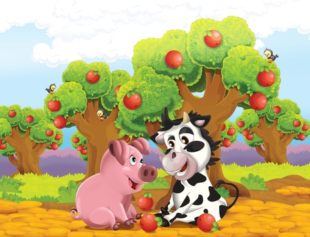 cartoon scene with life on the farm with cow and pig near the apple trees orchard - illustration for the children