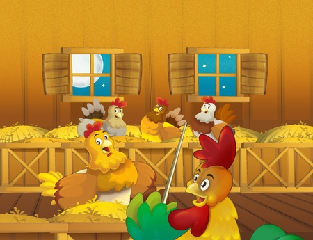 cartoon scene with life on the farm with chickens and rooster in the barn - illustration for the children