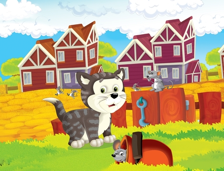 The life on the farm - happy cat and mouse - illustration for the children