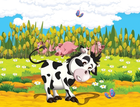 cartoon scene with life on the farm with cow and pig near the corn field - illustration for the children Zdjęcie Seryjne