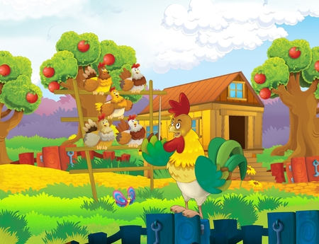 cartoon scene with life on the farm with rooster and chickens - illustration for the children Zdjęcie Seryjne