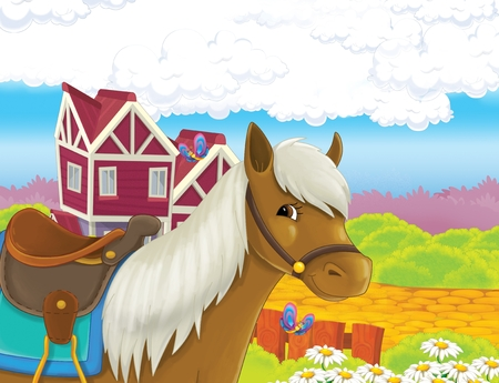 The life on the farm with horse near farm enclosure - illustration for the children