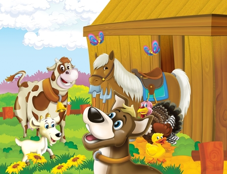 cartoon scene with life on the farm with dog and friends having fun together - illustration for the children
