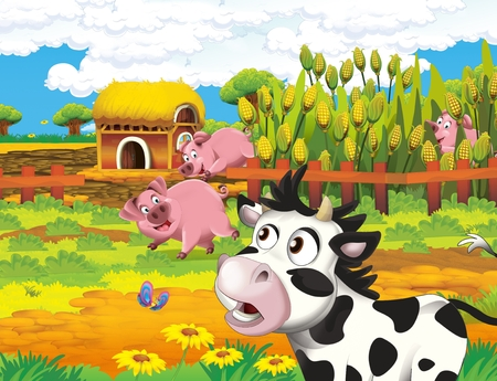 cartoon scene with life on the farm with cow and pig near the corn field and farm house barn - illustration for the children Zdjęcie Seryjne