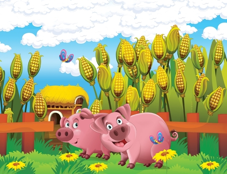 cartoon scene with life on the farm with and pig near the corn field and farm house barn - illustration for the children
