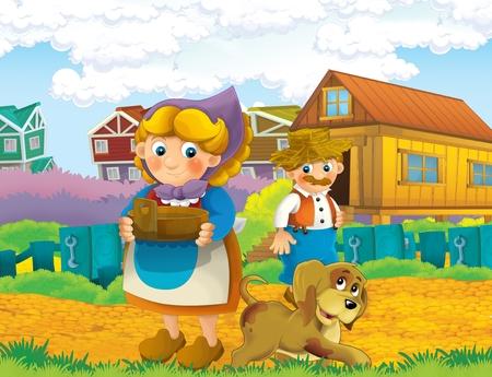 cartoon scene with life on the farm with farmer and his wife and their dog near farm house - illustration for the children Reklamní fotografie