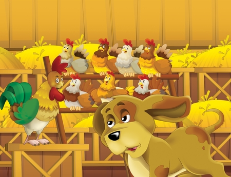 cartoon scene with life on the farm with rooster dog and chickens in the barn - illustration for the children