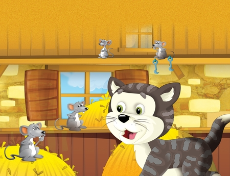 The life on the farm in the barn with cat and mice - illustration for children