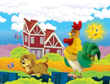 cartoon scene with life on the farm with rooster and dog - illustration for the children