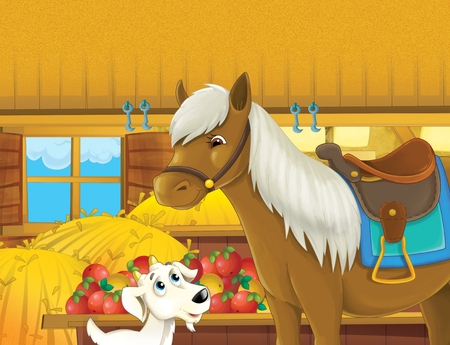 The life on the farm in the barn cat talking to horse - illustration for the children