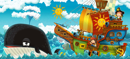 cartoon scene with pirate ship sailing through the seas with happy pirates meeting swimming whale - illustration for children Stock Photo