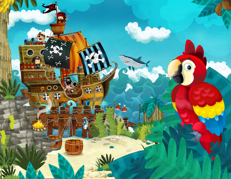Cartoon scene of beach near the sea or ocean - pirate ship and parrot bird - illustration for children