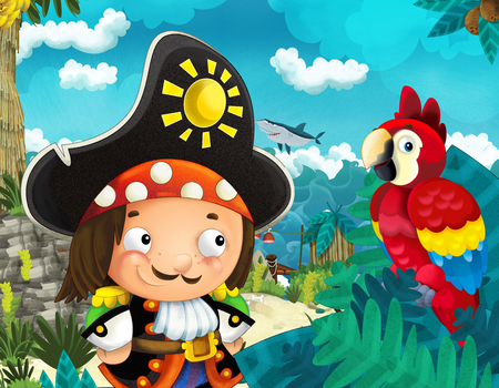 Cartoon scene of beach near the sea or ocean - pirate ship parrot bird and pirate captain - illustration for children