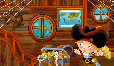 cartoon scene with pirate ship cabin interior with loving pirate girl sailing through the seas - illustration for children