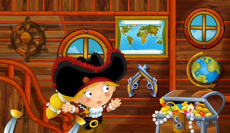 cartoon scene with pirate ship cabin interior with pirate girl sailing through the seas - illustration for children