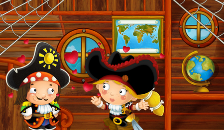 cartoon scene with pirate ship cabin interior with loving pirate couple sailing through the seas - illustration for children Reklamní fotografie