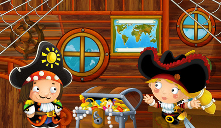 cartoon scene with pirate ship cabin interior with treasure and loving pirate couple sailing through the seas - illustration for children Reklamní fotografie