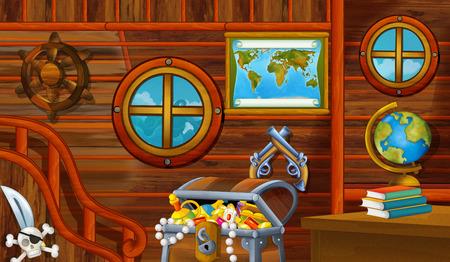 cartoon scene with pirate ship cabin interior with treasure sailing through the seas - illustration for children