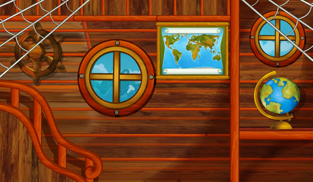 cartoon scene with pirate ship cabin interior sailing through the seas - illustration for children Stock Photo