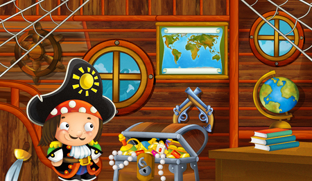 cartoon scene with pirate ship cabin interior with loving pirate boy sailing through the seas - illustration for children