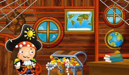 cartoon scene with pirate ship cabin interior with pirate boy sailing through the seas - illustration for children