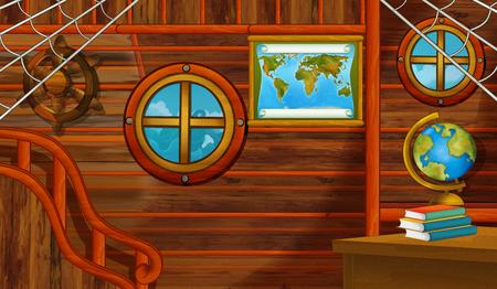 cartoon scene with pirate ship cabin interior sailing through the seas - illustration for children Stock Photo