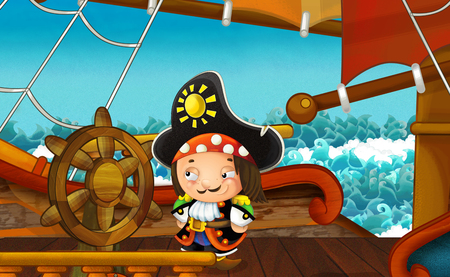 cartoon scene with pirate ship sailing through the sea - pirate on the deck - illustration for children Reklamní fotografie