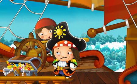 cartoon scene with pirate ship sailing through the sea - pirate on the deck - illustration for children Stockfoto
