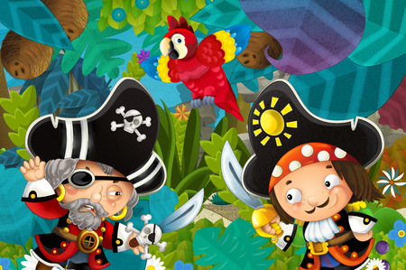 cartoon scene with pirates fighting in the jungle - duel - illustration for children