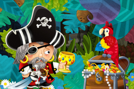 cartoon scene with pirate and treasure and parrot in the jungle - illustration for children