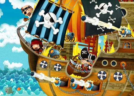 cartoon scene with pirate ship sailing through the seas with scary pirates - deck is burning during battle - illustration for children Stock Photo