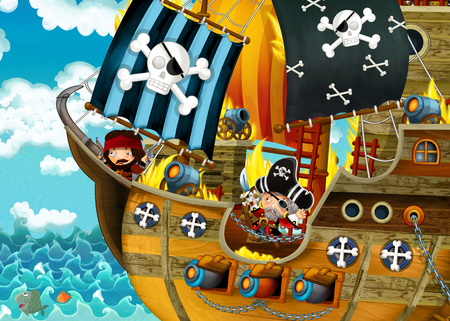 cartoon scene with pirate ship sailing through the seas with scary pirates - deck is burning during battle - illustration for children Reklamní fotografie