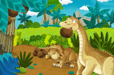 cartoon scene with dinosaur diplodocus or apatosaurus taking down coconuts in the jungle nature background - illustration for children
