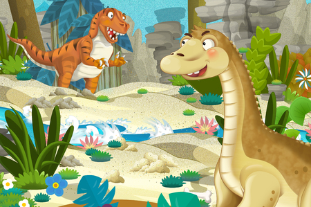 cartoon scene with dinosaur apatosaurus diplodocus with some other dinosaur in the jungle - illustration for children