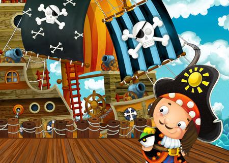 cartoon scene with pirate sailing ship docking - illustration for children
