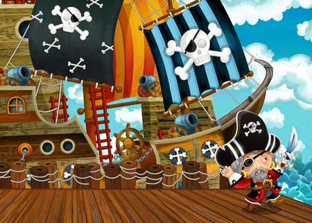 cartoon scene with pirate sailing ship docking - illustration for children