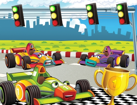 cartoon scene with formula race - super car - illustration for the children