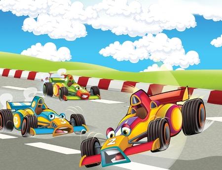 cartoon scene with formula race - super car - illustration for the children
