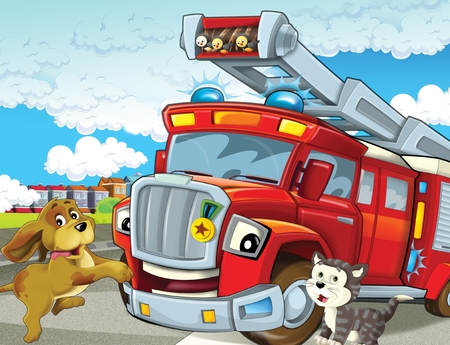 cartoon scene with red firetruck rushing to some action - duty - illustration for children Reklamní fotografie - 121262852