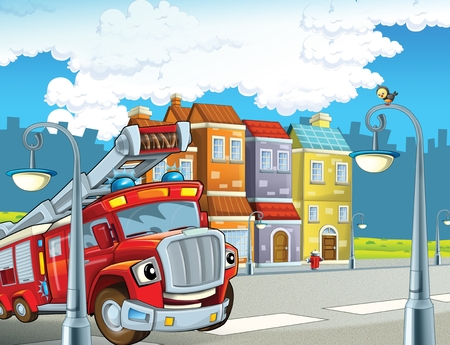 cartoon scene with red firetruck rushing to some action - duty - illustration for children Фото со стока