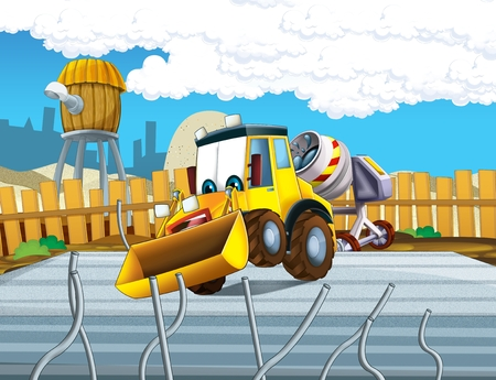 Cartoon excavator busy working on construction site - illustration for the children Reklamní fotografie