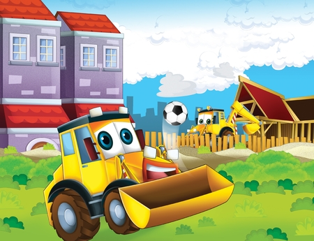 Cartoon excavator busy working on construction site - illustration for the children Imagens