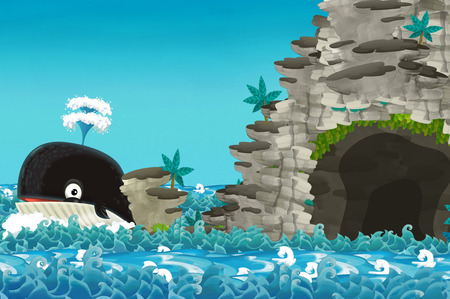 cartoon scene with happy and funny whale swimming near the cave - illustration for children