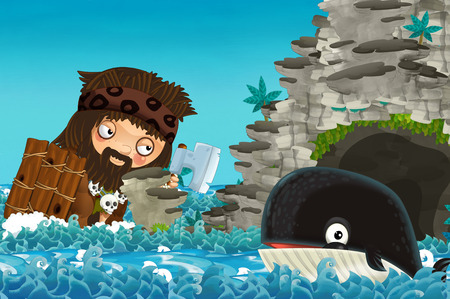 cartoon scene with happy and funny whale swimming near the cave encountering giant man - illustration for children Stock Photo