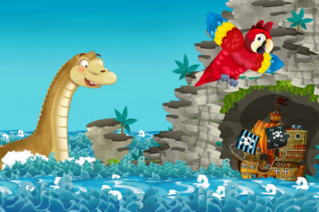 cartoon scene with pirate ship sailing through the seas encountering sea monster - illustration for children