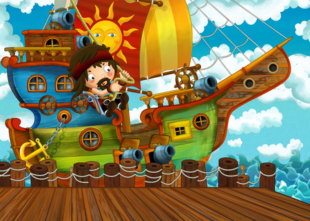 cartoon scene with pirate sailing ship docking in a harbor - illustration for children Stock Photo