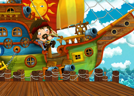 cartoon scene with pirate sailing ship docking in a harbor - illustration for children Reklamní fotografie