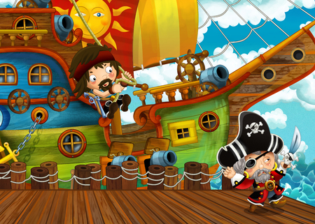 cartoon scene with pirate sailing ship docking in a harbor - illustration for children Stock fotó