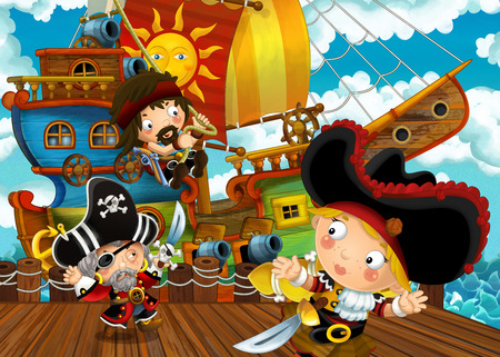 cartoon scene with pirate sailing ship docking in a harbor - illustration for children Standard-Bild